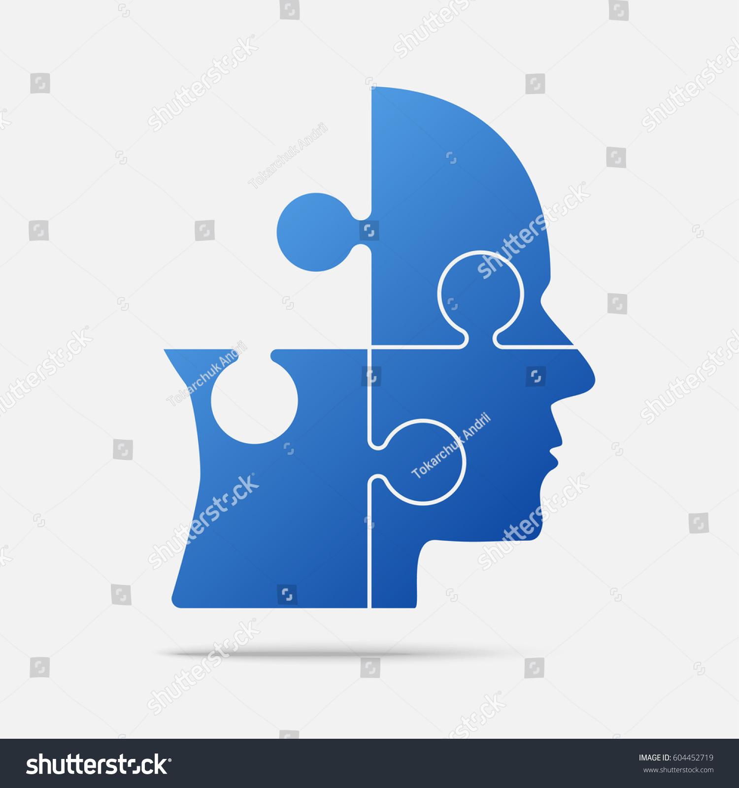 Vector Silhouette Head Puzzle 3 Pieces Image Vectorielle De Stock