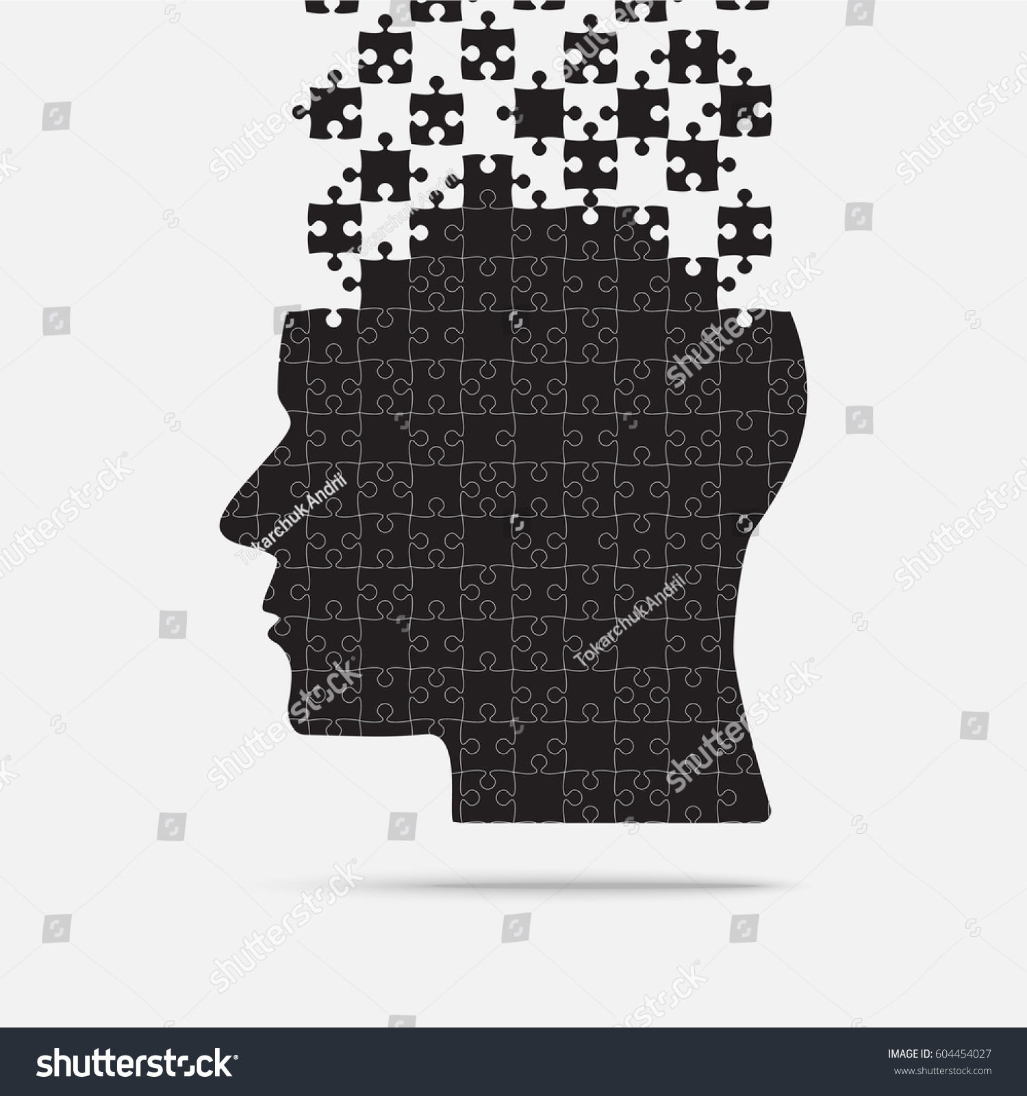 Black Puzzle Piece Silhouette Head Grey Stock Vector 604454027 ...