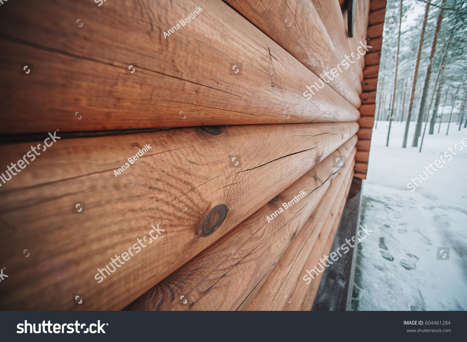 Wooden wall logs wood log house stock photo
