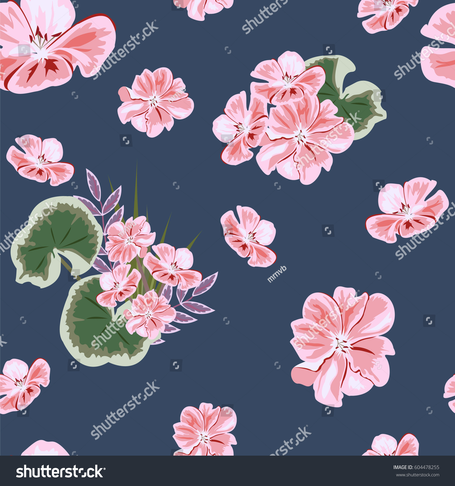 Vintage Seamless Pattern With Cute Pink Flowers Hand Drawn Floral