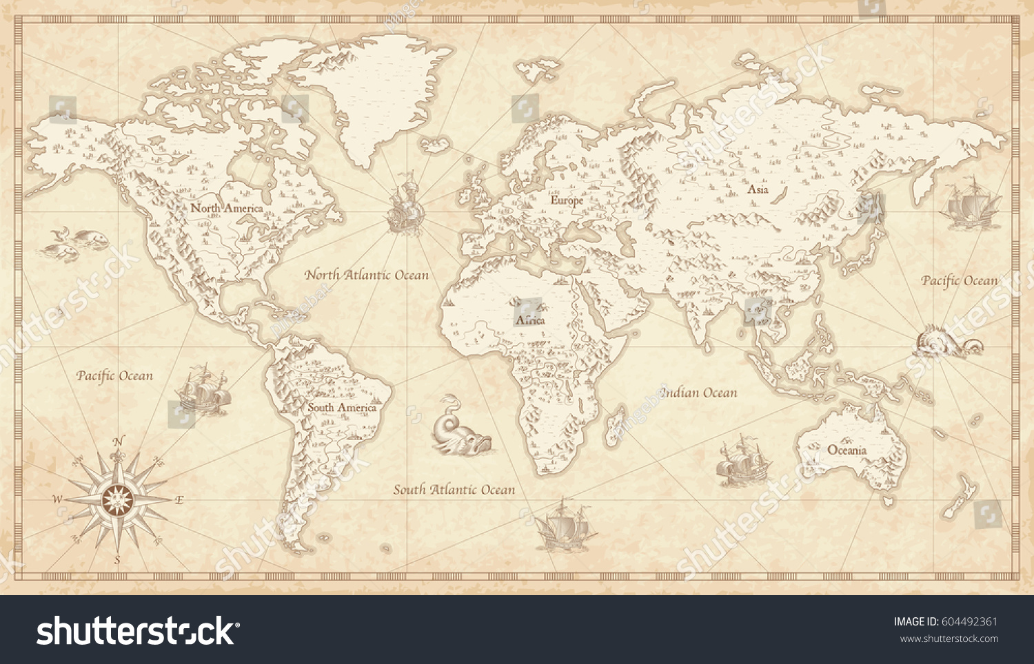 Great Detail Illustration of the world map in vintage style with mountains, trees, cities and main rivers on a old parchment background.  #604492361