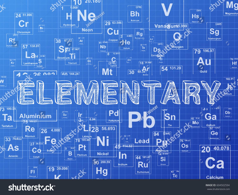 Elementary word on periodic table symbols stock illustration elementary word on periodic table symbols blueprint background malvernweather Gallery