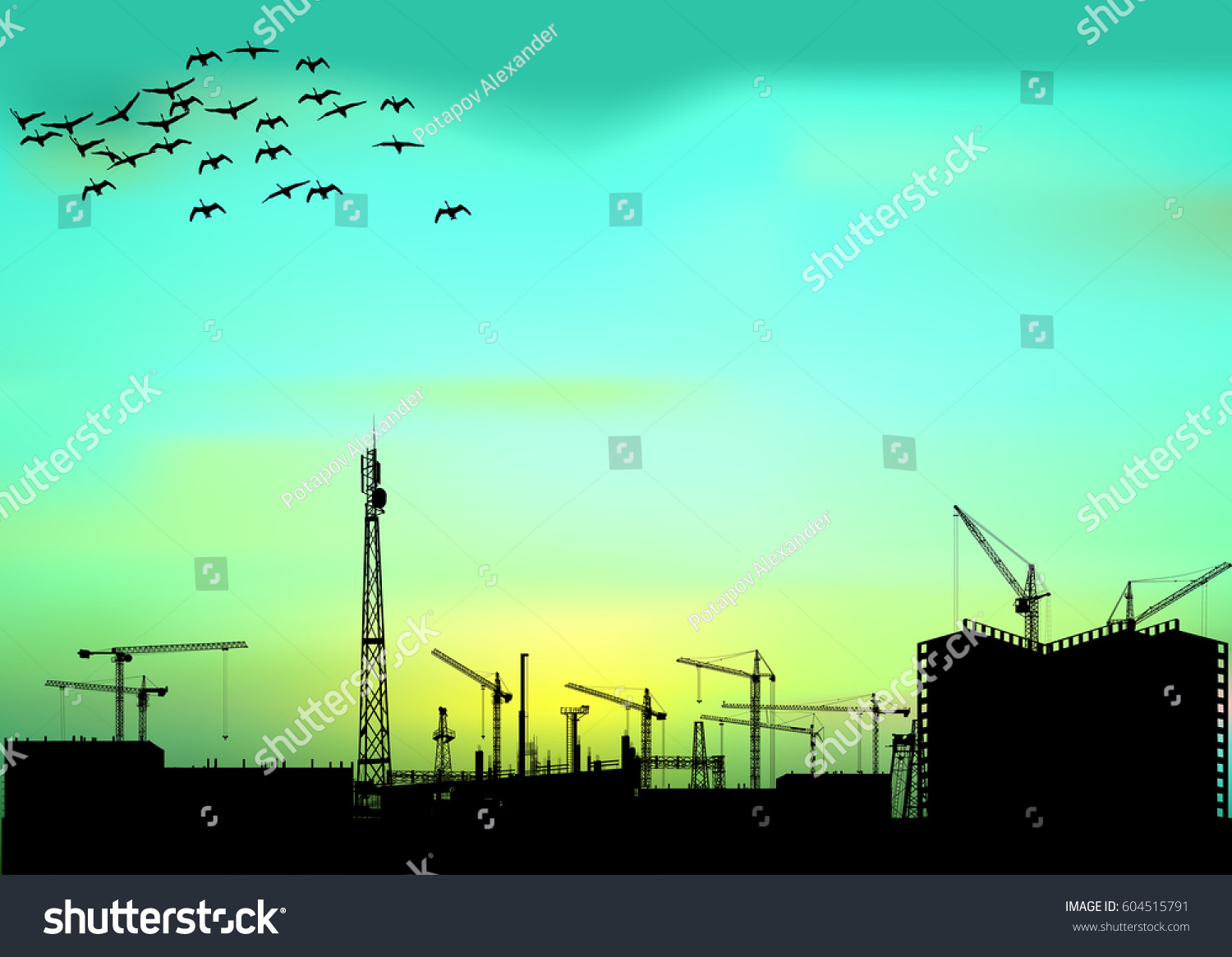 Illustration House Building Flying Birds 604515791