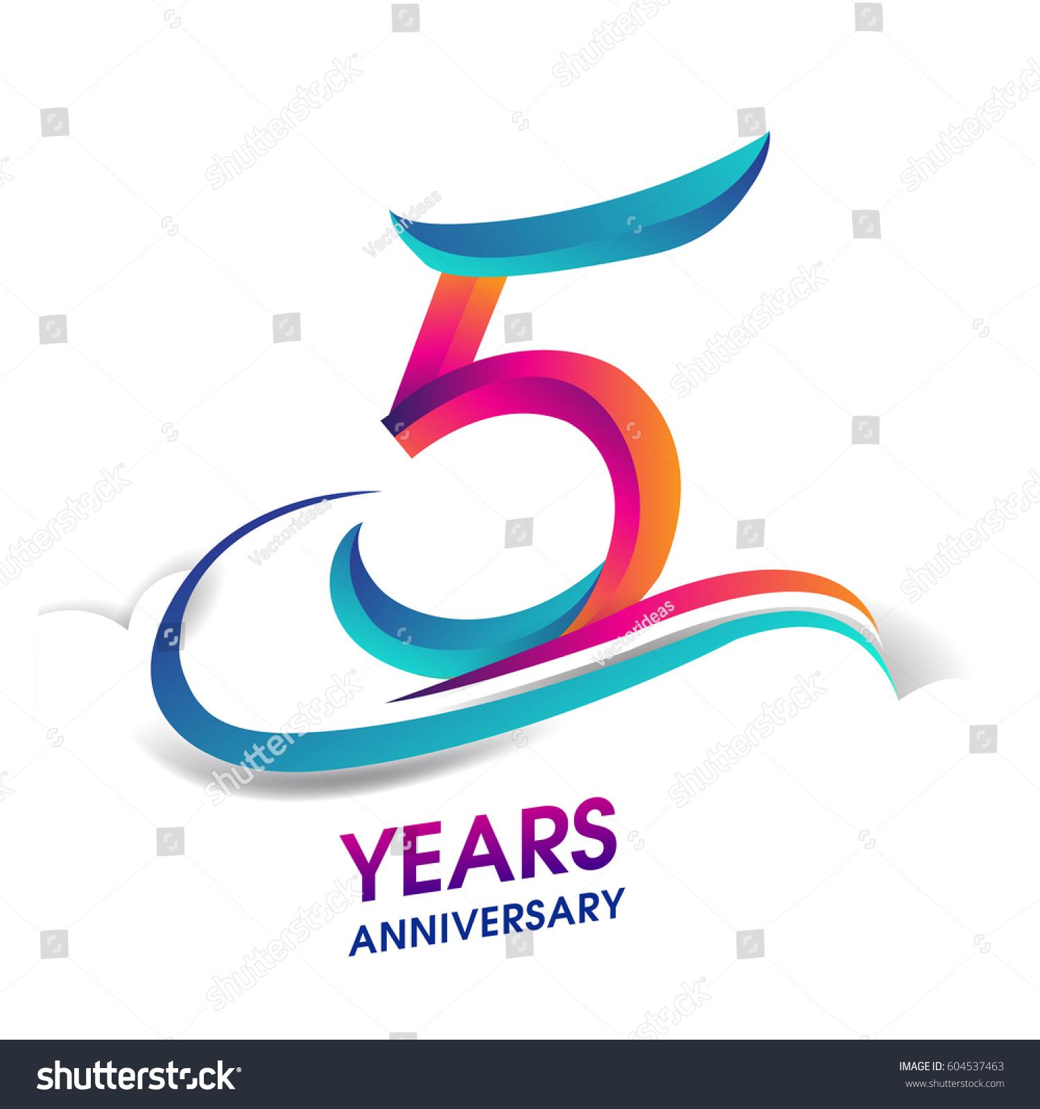 Five Years Anniversary Celebration Logotype Blue Stock ...