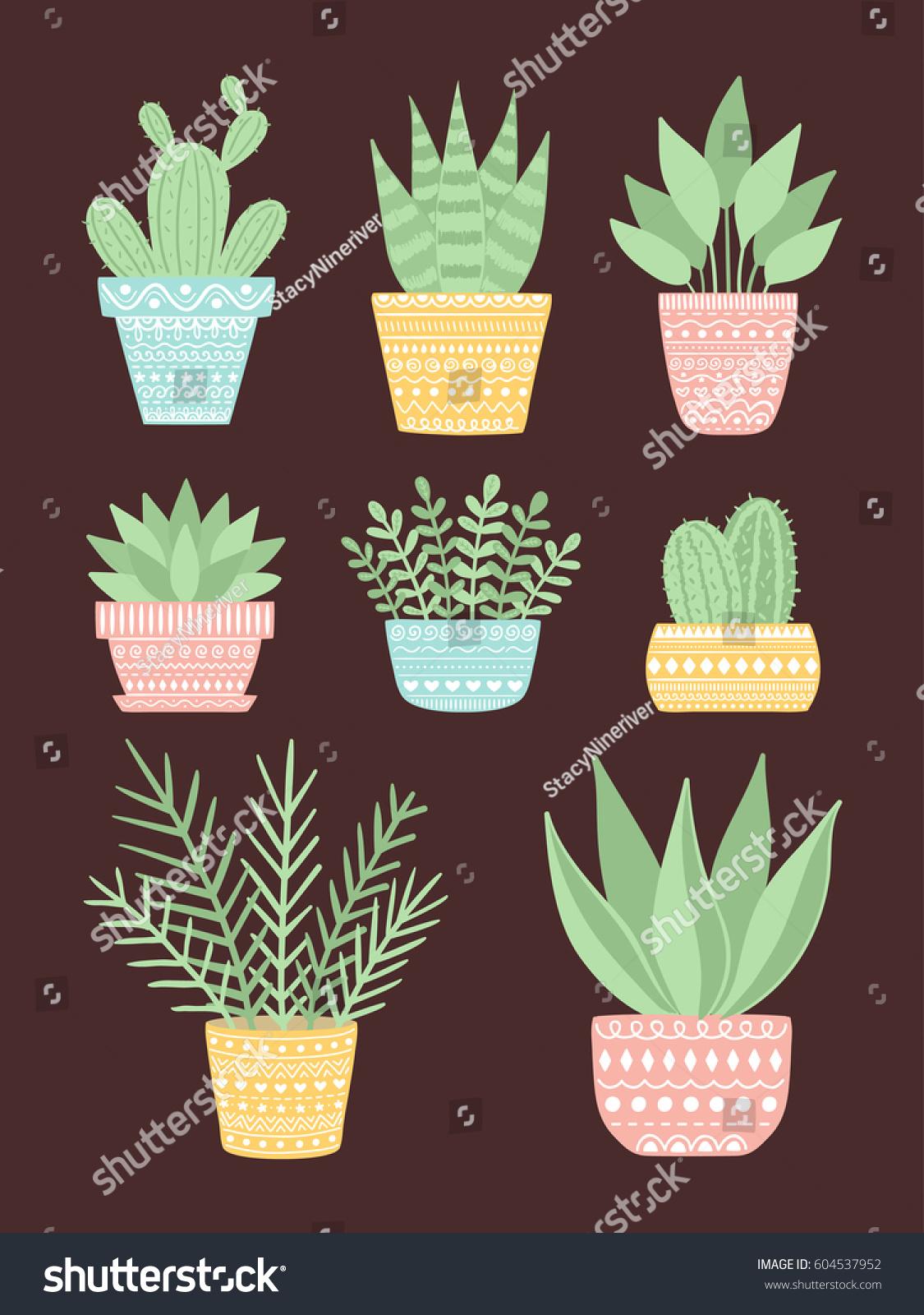 hand decorative cute pots decor stock handdraw vector hd royalty image illustration in draw plants