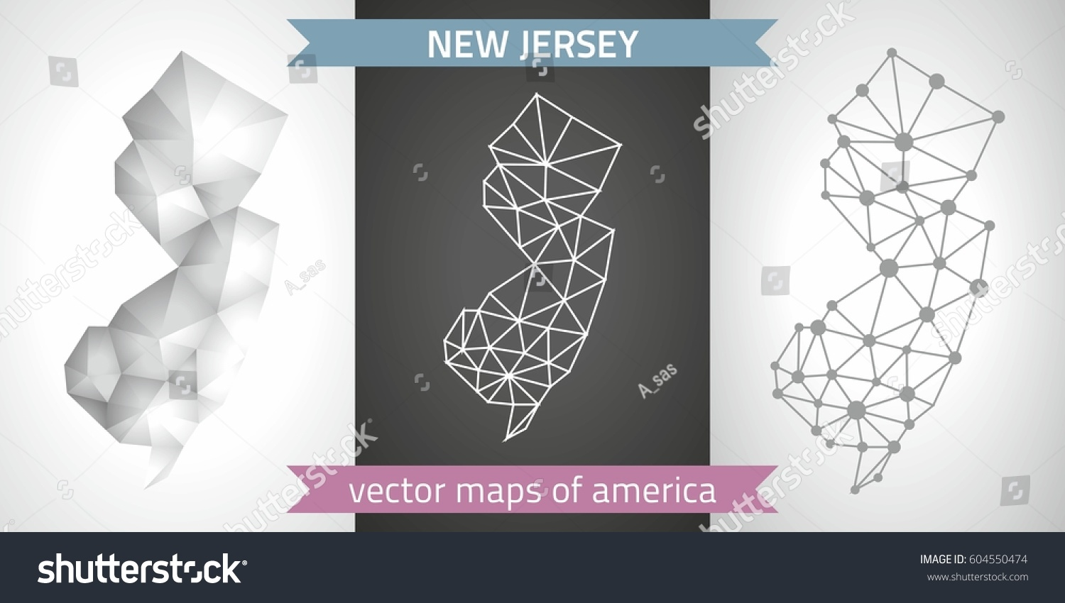 New Jersey Outline 3d