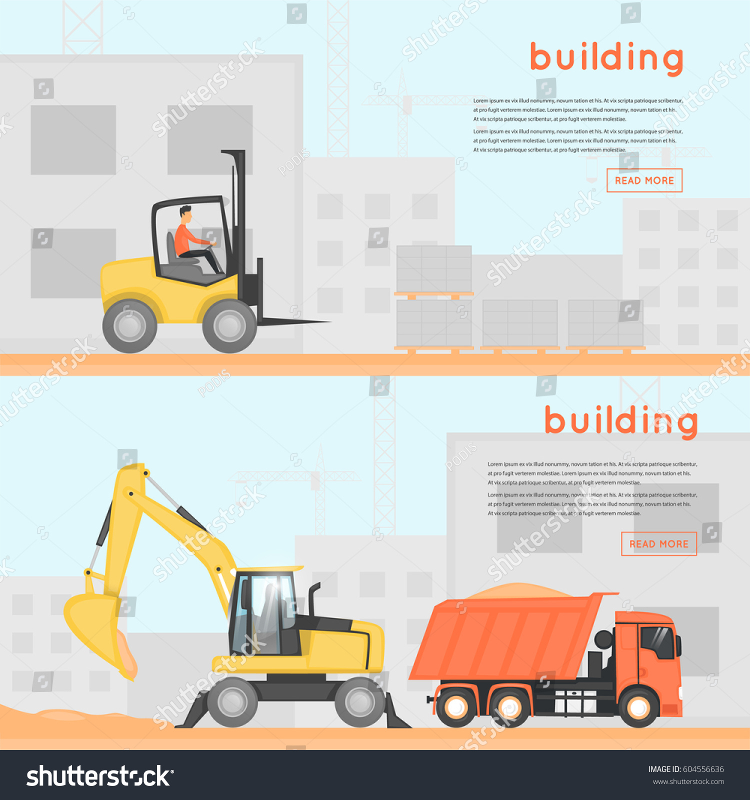 Construction Equipment Banners Brithday Banners
