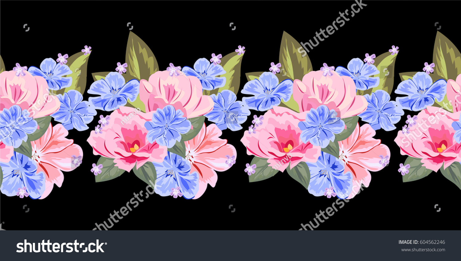 Seamless Floral Border Cute Pink Blue Stock Vector ...