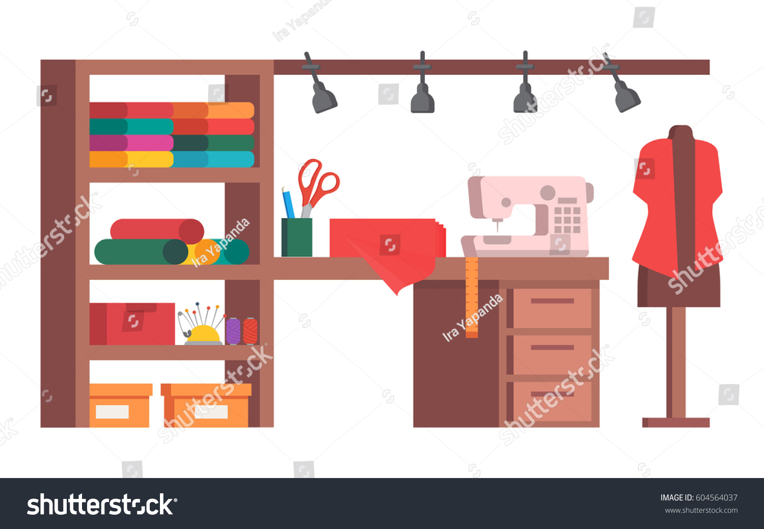 sewing room sewing machine mannequin tools stock vector 604564037 shutterstock. Black Bedroom Furniture Sets. Home Design Ideas