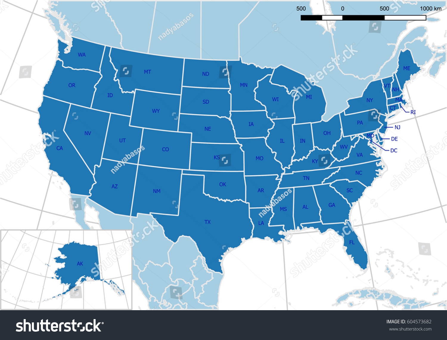 United States Map Detailed Vector Editable Stock Vector 604573682