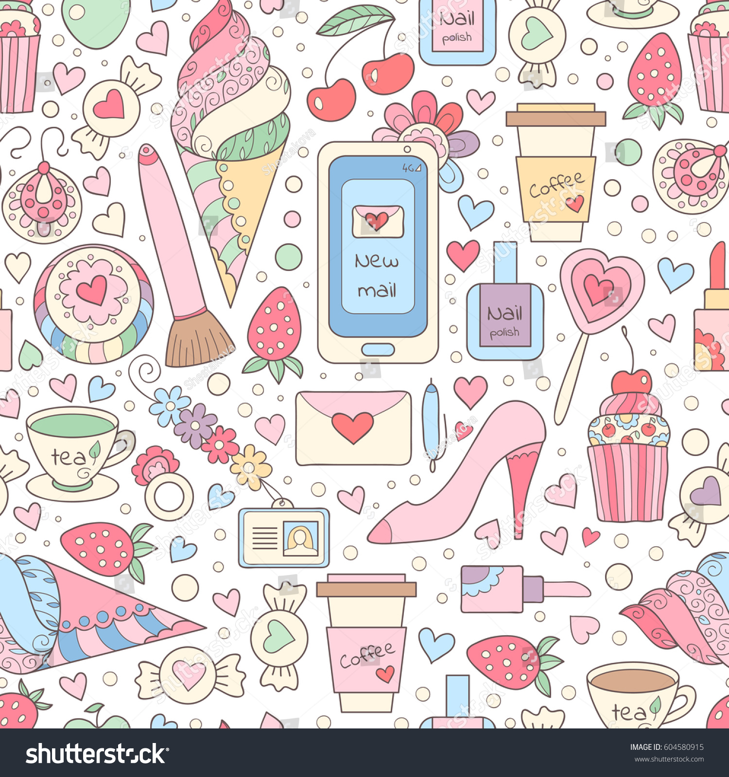 Vector Doodle Seamless Pattern With Sweets Hearts Coffee Cup Happy Birthday Background