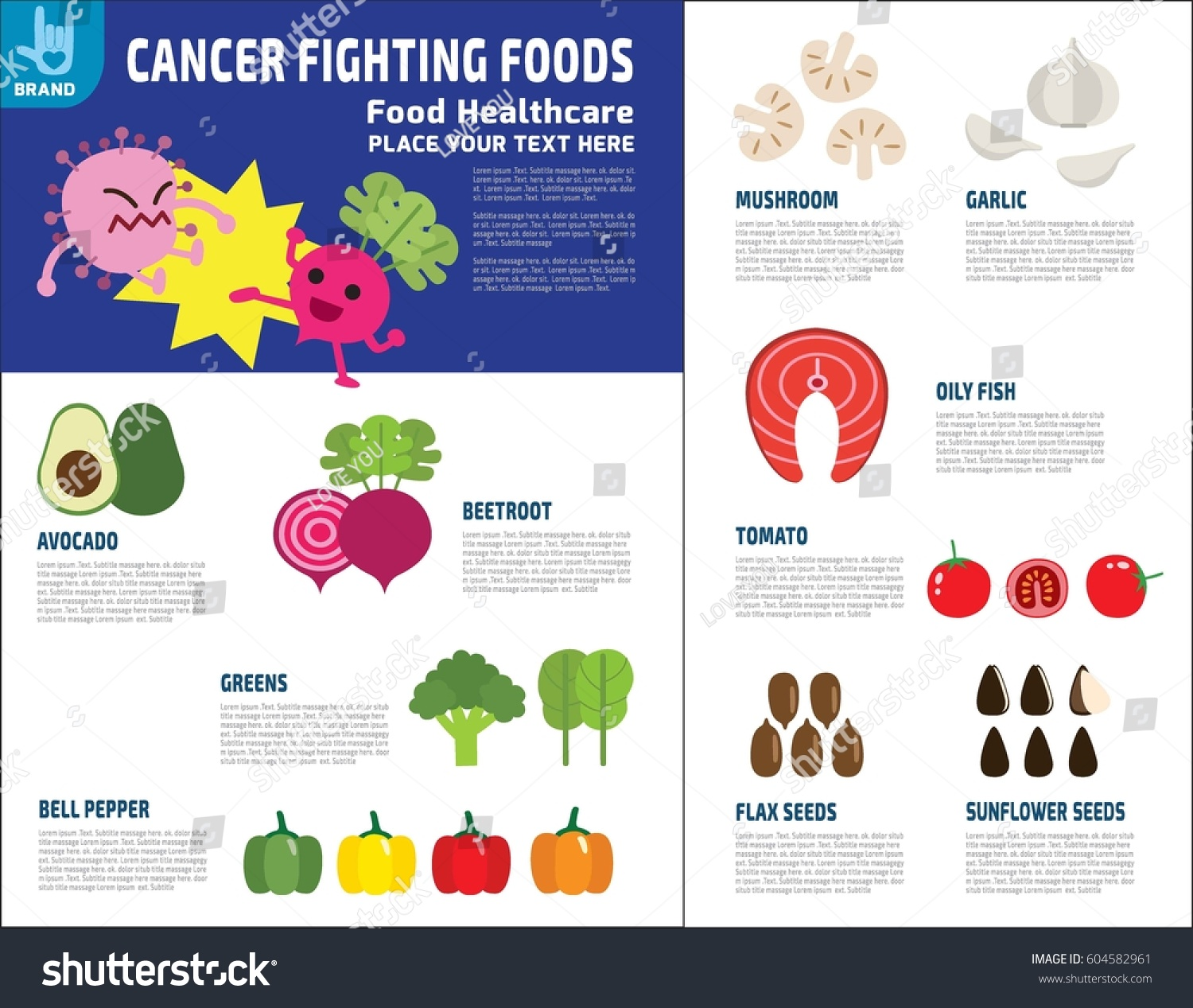 Foods Fighting Cancer Source Medical Healthcare Stock Vector