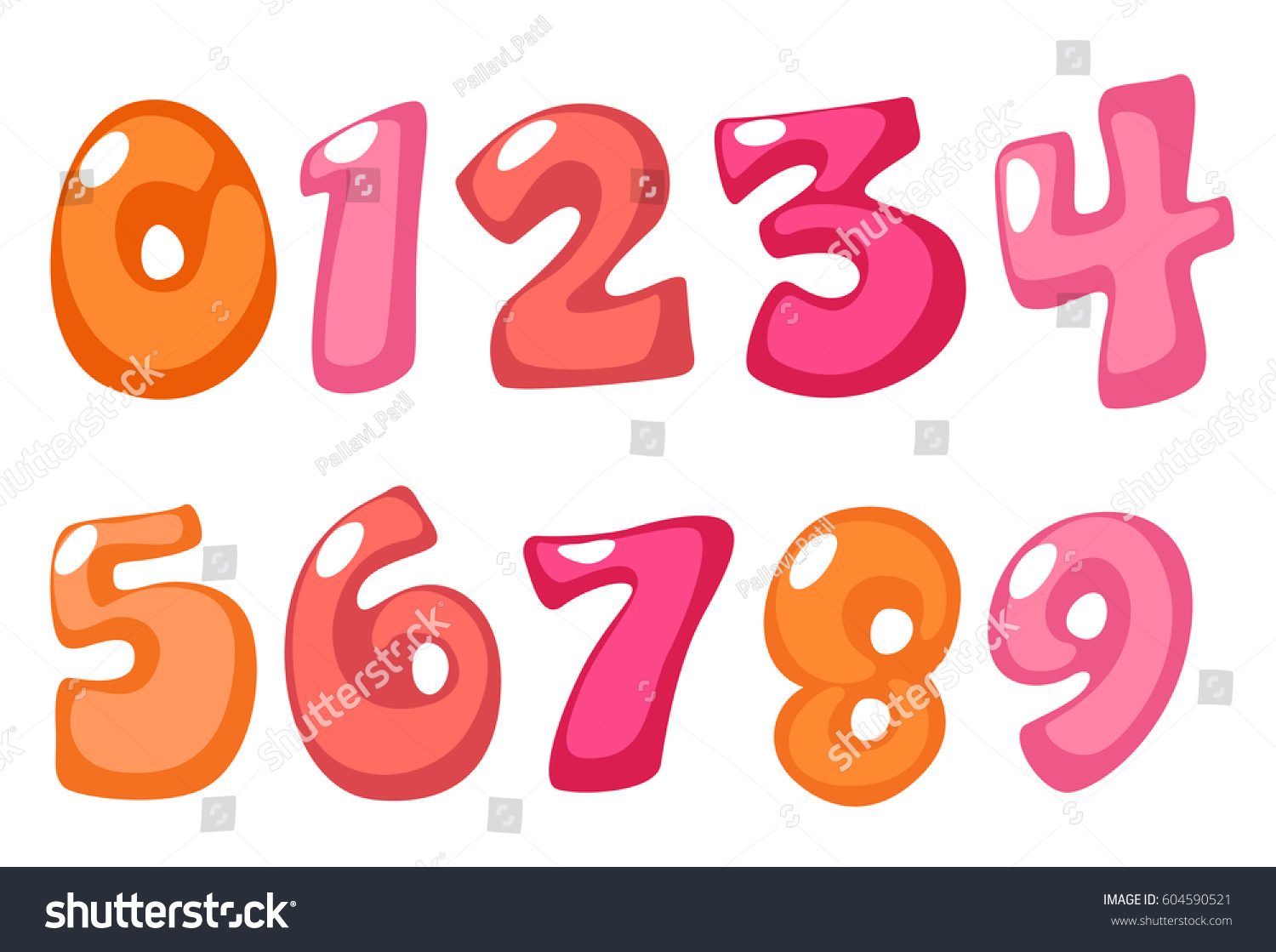 cute bold font numbers pink color stock vector 604590521