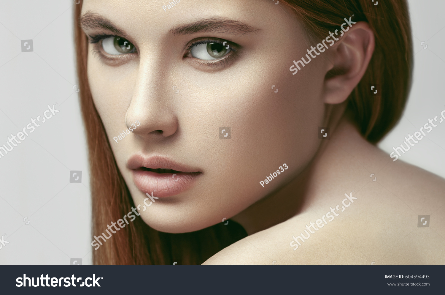 Closeup Beauty Portrait Young Beautiful Glamour Stock ...