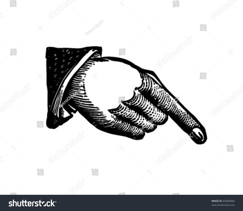 Hand Pointing Down Retro Clip Art Stock Vector 60460060 - Shutterstock