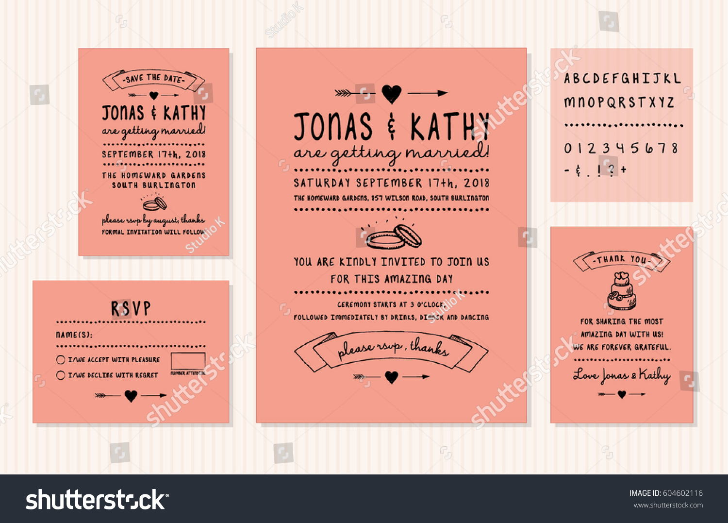 vintage wedding invitation design set invitation stock vector