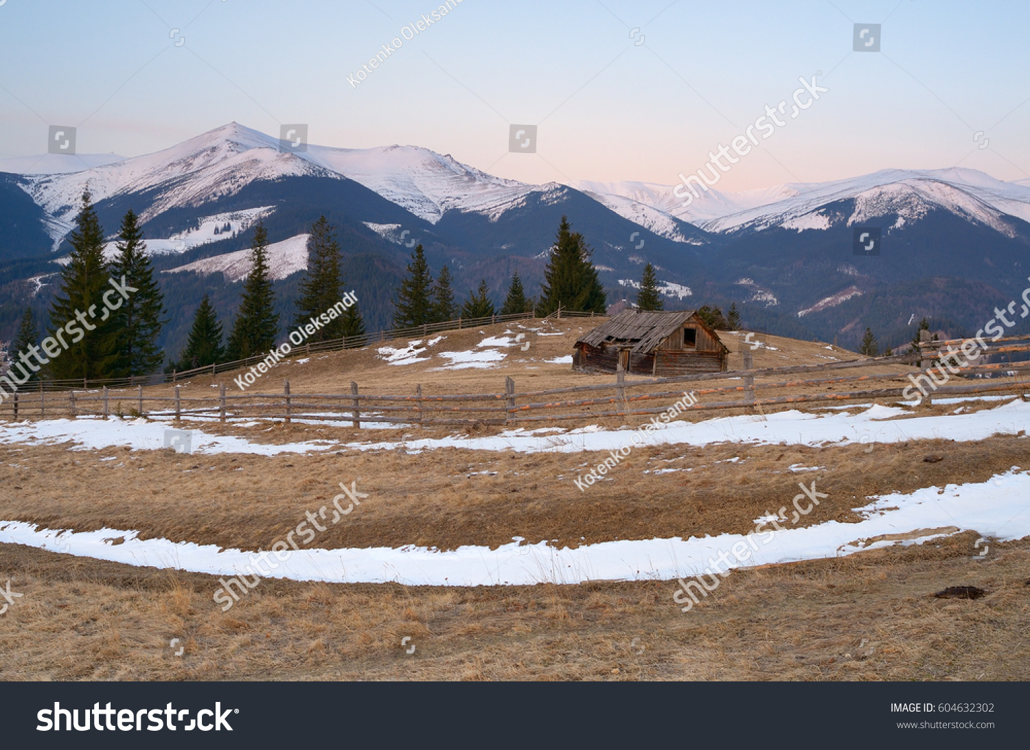 Spring Landscape Old Wooden Barn Village Stock Photo