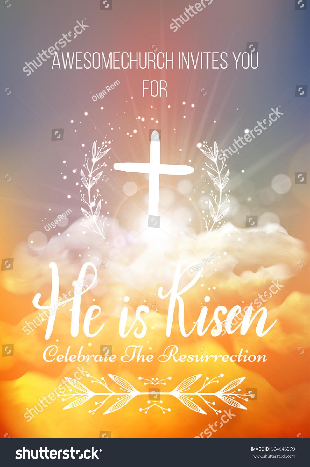 he risen vector easter religious poster stock vector 604646399