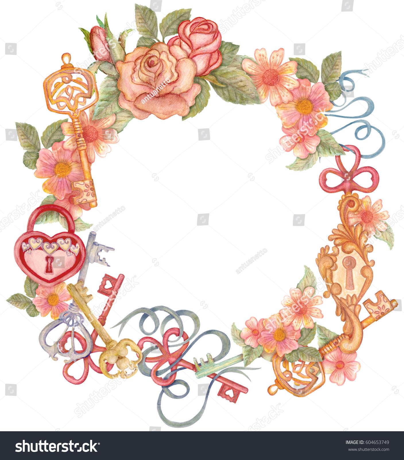 Watercolor Flower Circlet Keys Padlock Form Stock Illustration
