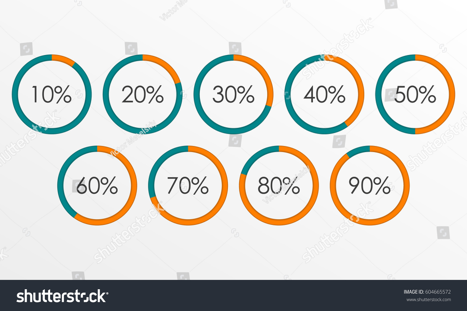 Circle diagram set percentage pie chart stock vector 604665572 circle diagram set with percentage pie chart infographics template 10 20 30 40 50 ccuart Images