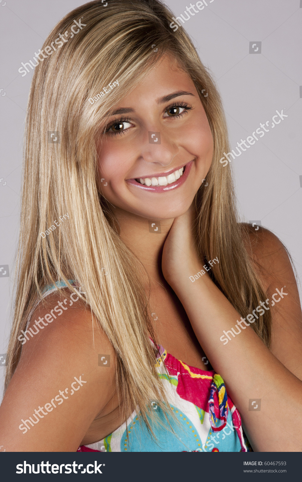 Colorful Teen Stock Image Image Of Lipstick Portrait: A Pretty Blond Teen Girl Wearing A Colorful Party Dress