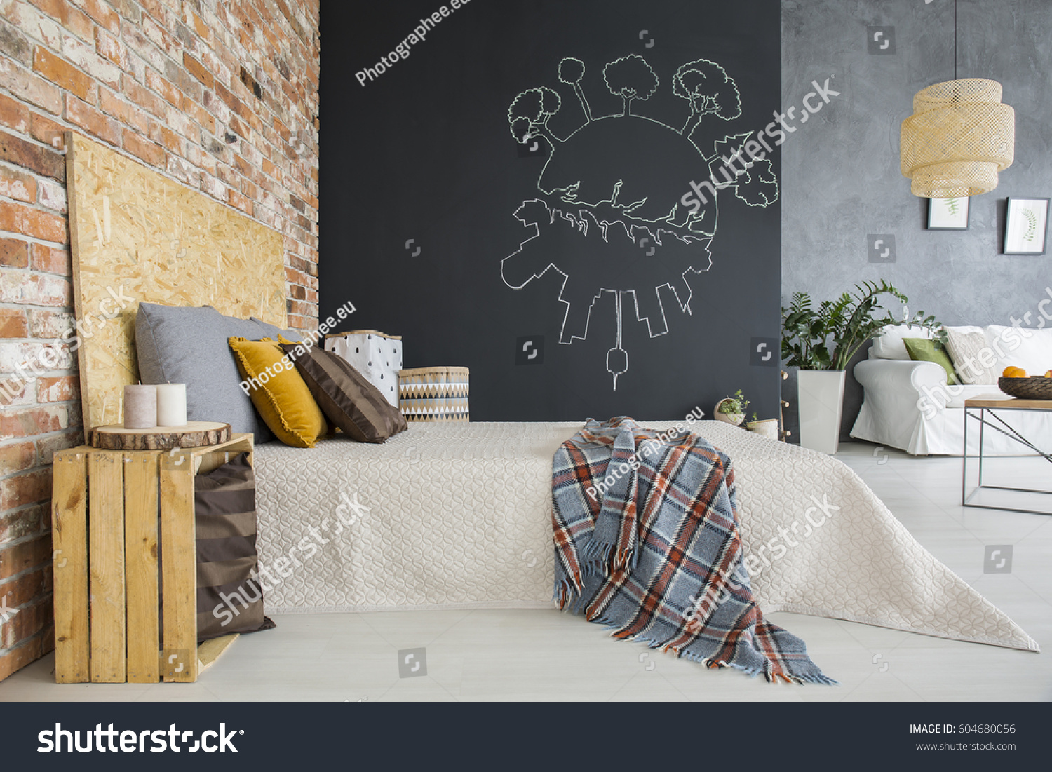 Industrial Style Bedroom Brick Wall Open Stock Photo (Royalty Free)  604680056   Shutterstock