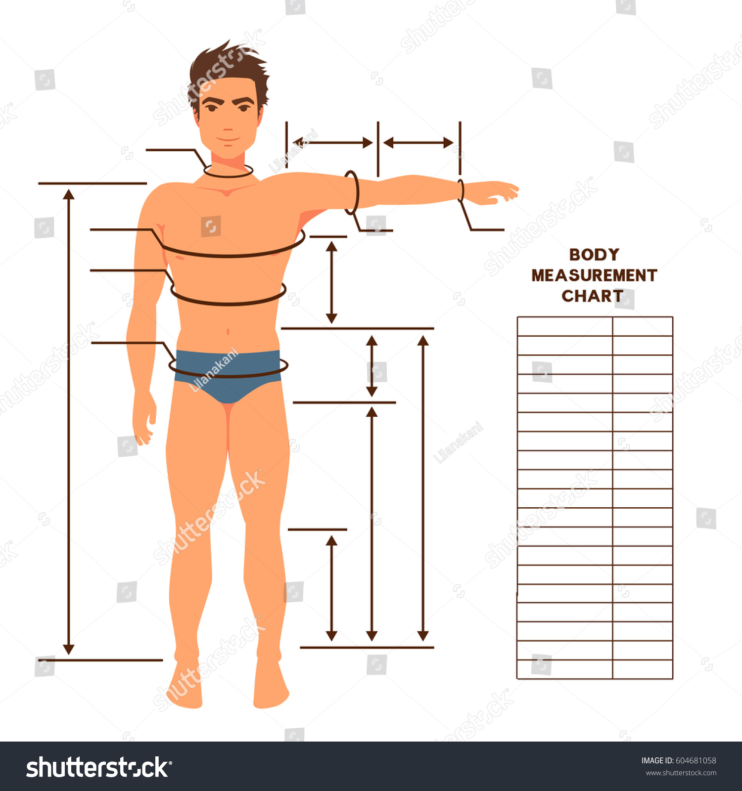 Male body measurement chart  Scheme for… Stock Photo