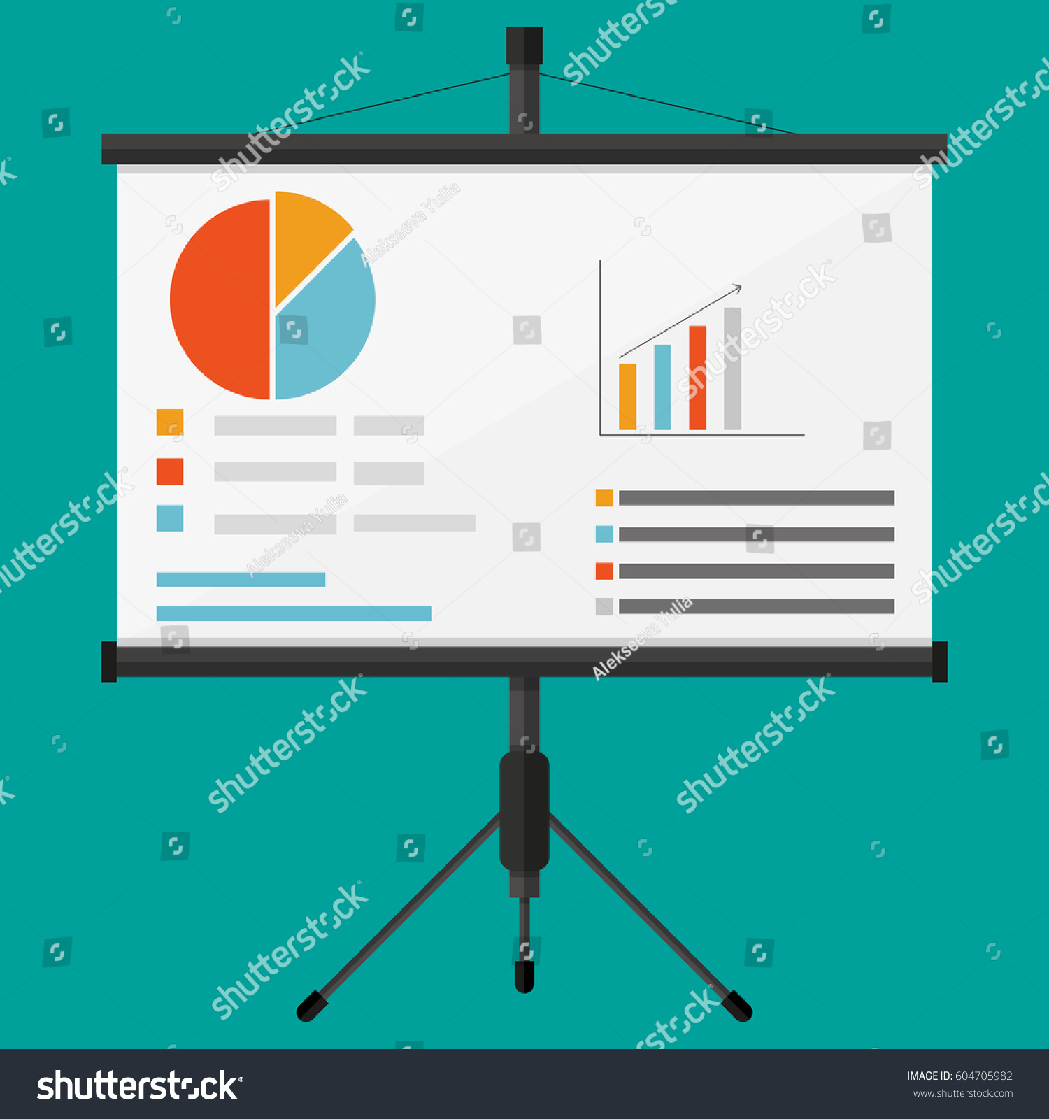 Projector Screen Business Presentation Chart Pie Stock Vector ...