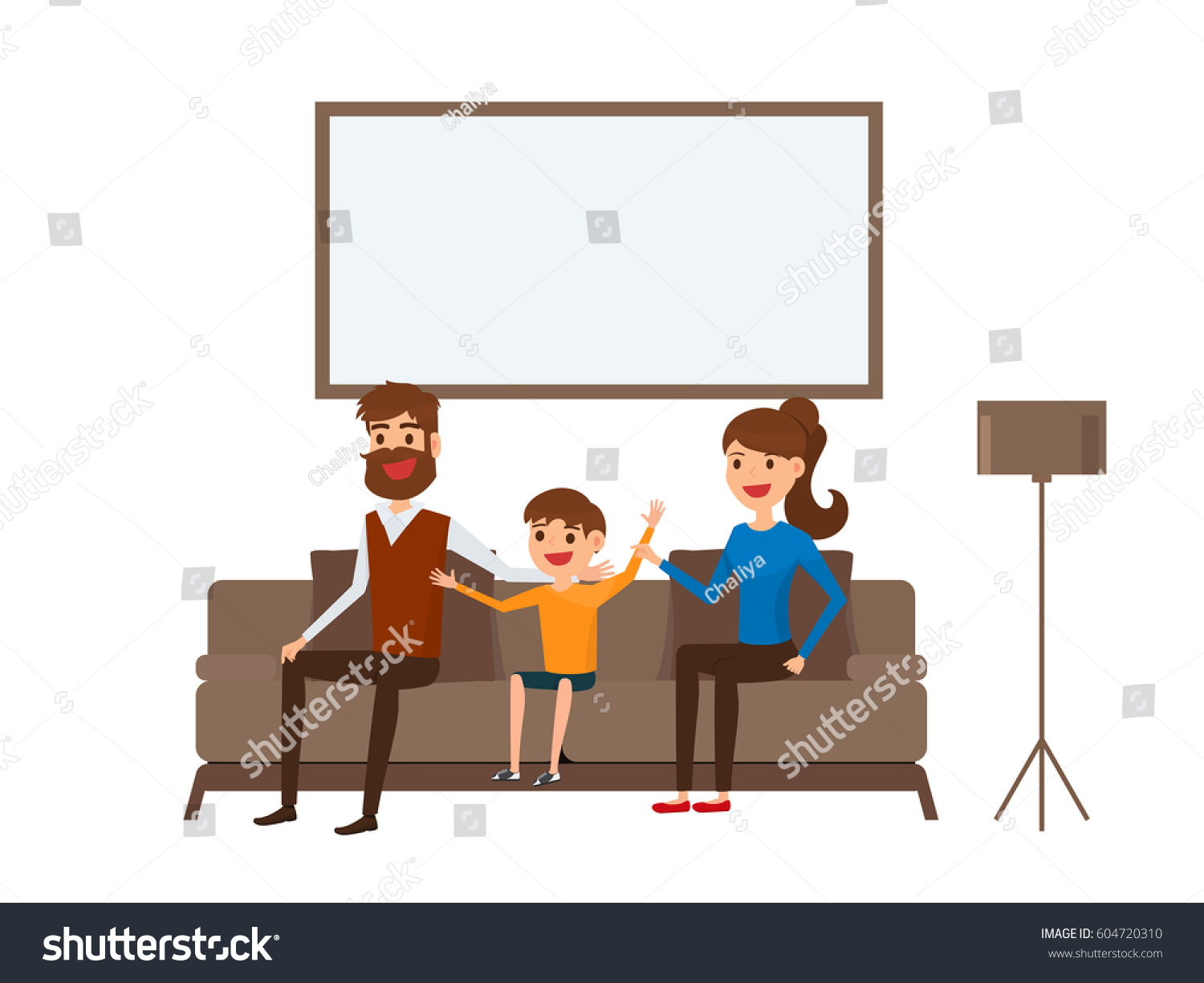 Happy Family Sitting On Sofa In Living Room Father Mother And Children Flat
