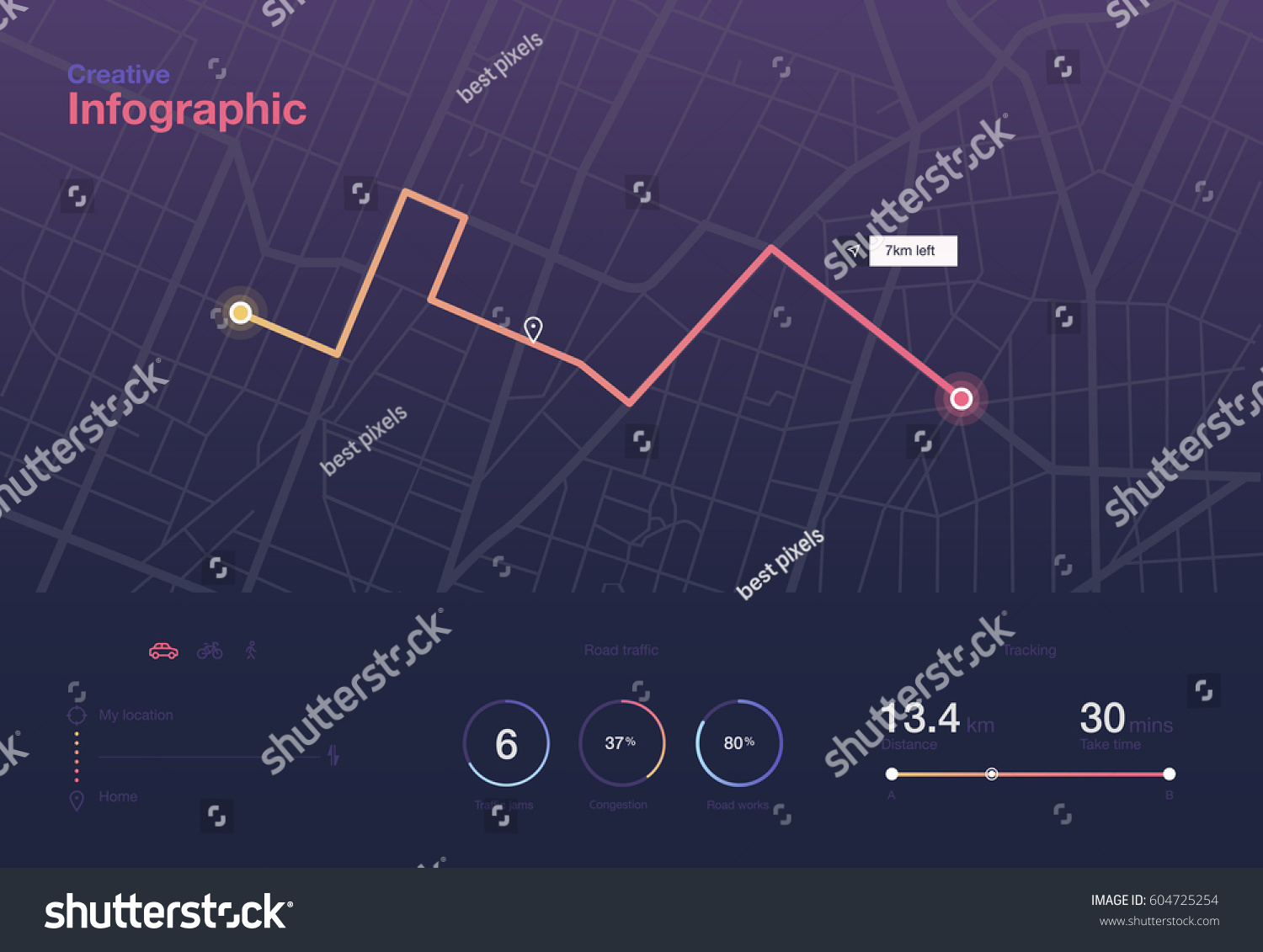 Dashboard theme creative infographic of city map navigation #604725254