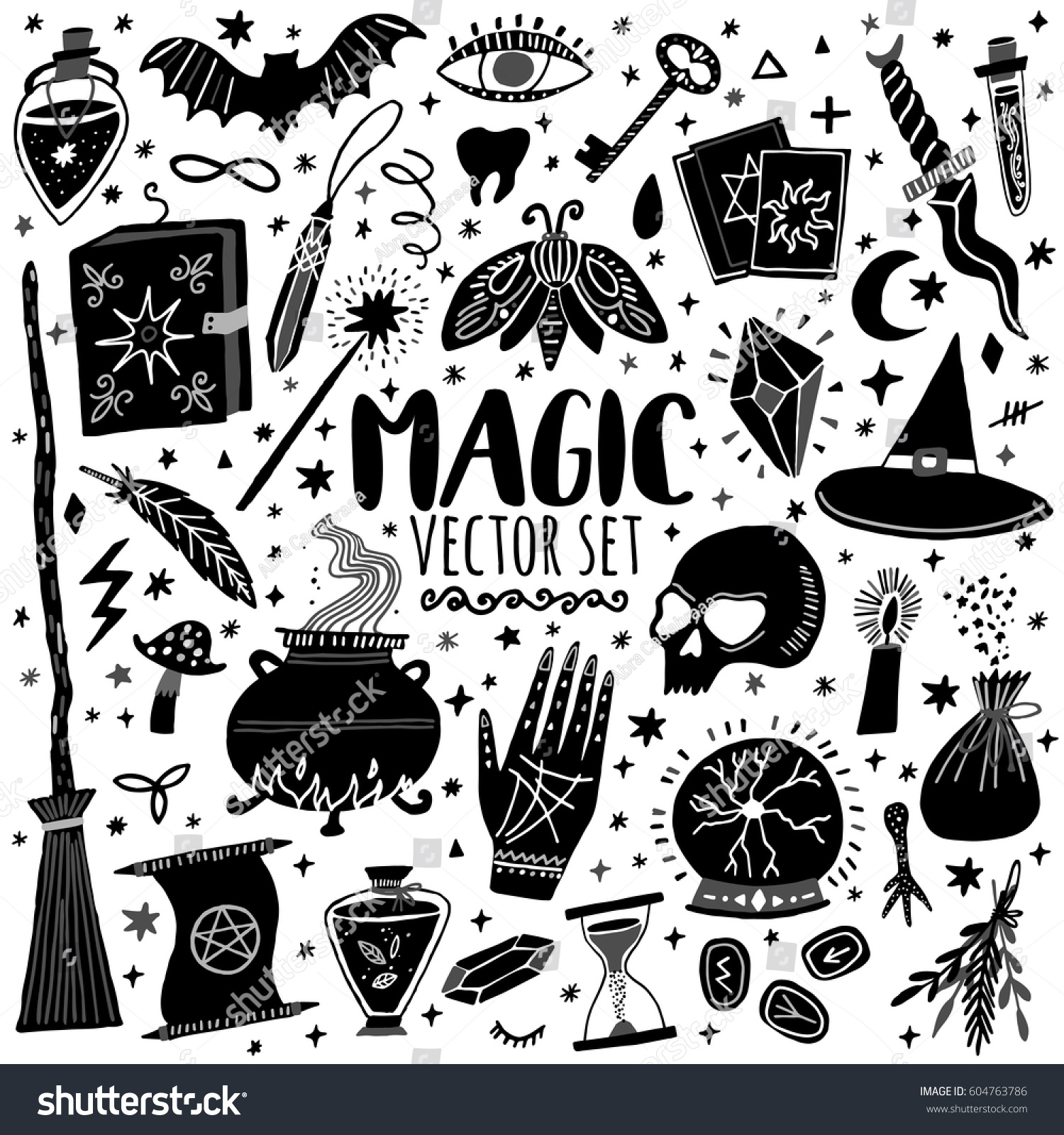 Vector magic icons hand drawn doodle stock vector 604763786 vector magic icons hand drawn doodle sketch magician set witchcraft symbols buycottarizona