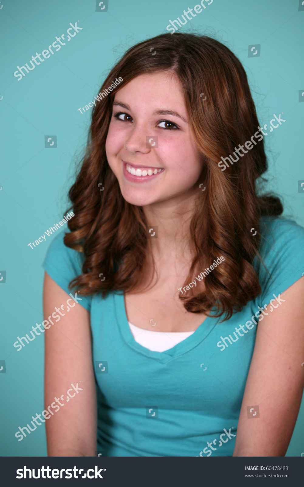Portrait Of Pretty Young Teen Girl In Studio Stock Photo