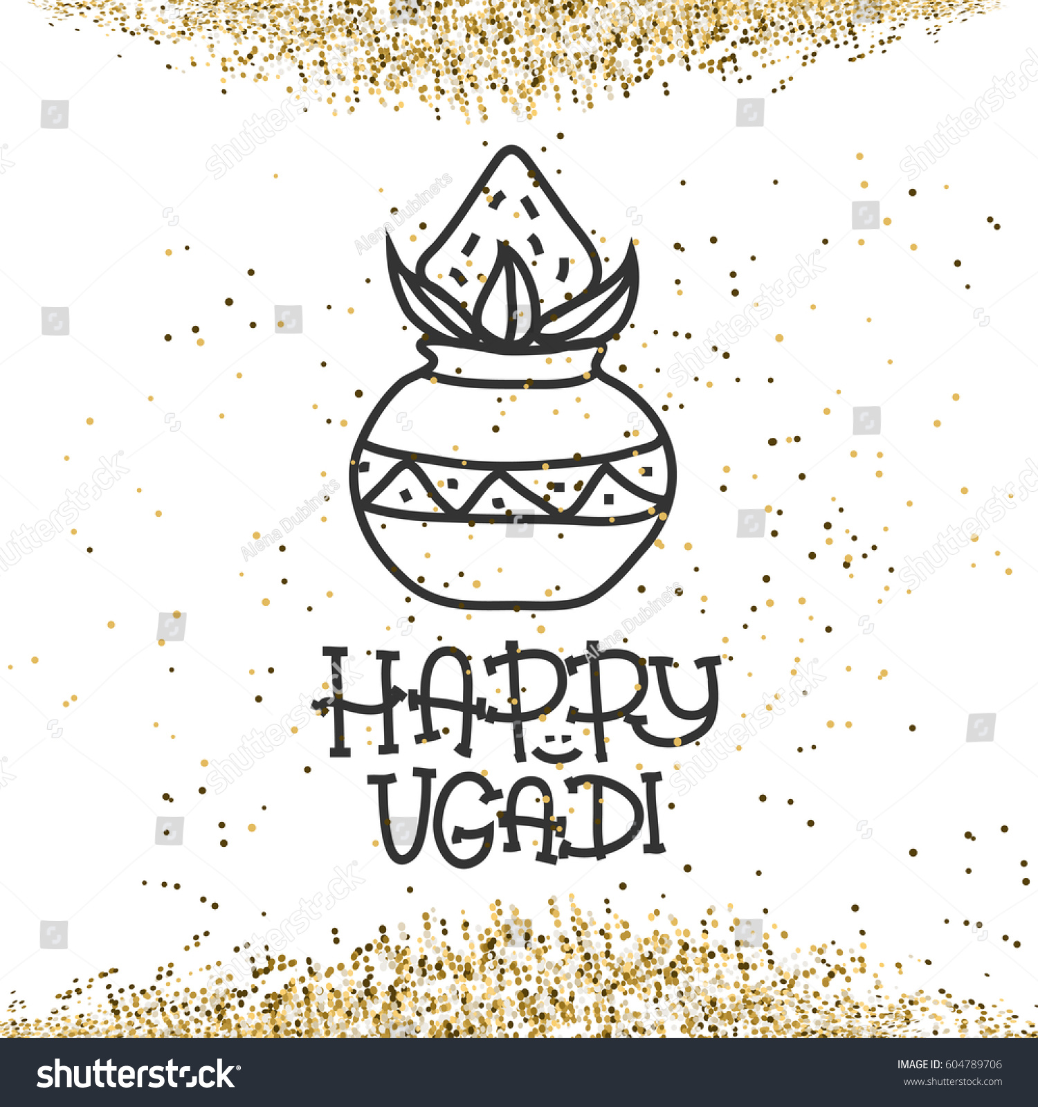 Happy Ugadi Hindu New Year Greeting Stock Vector 604789706