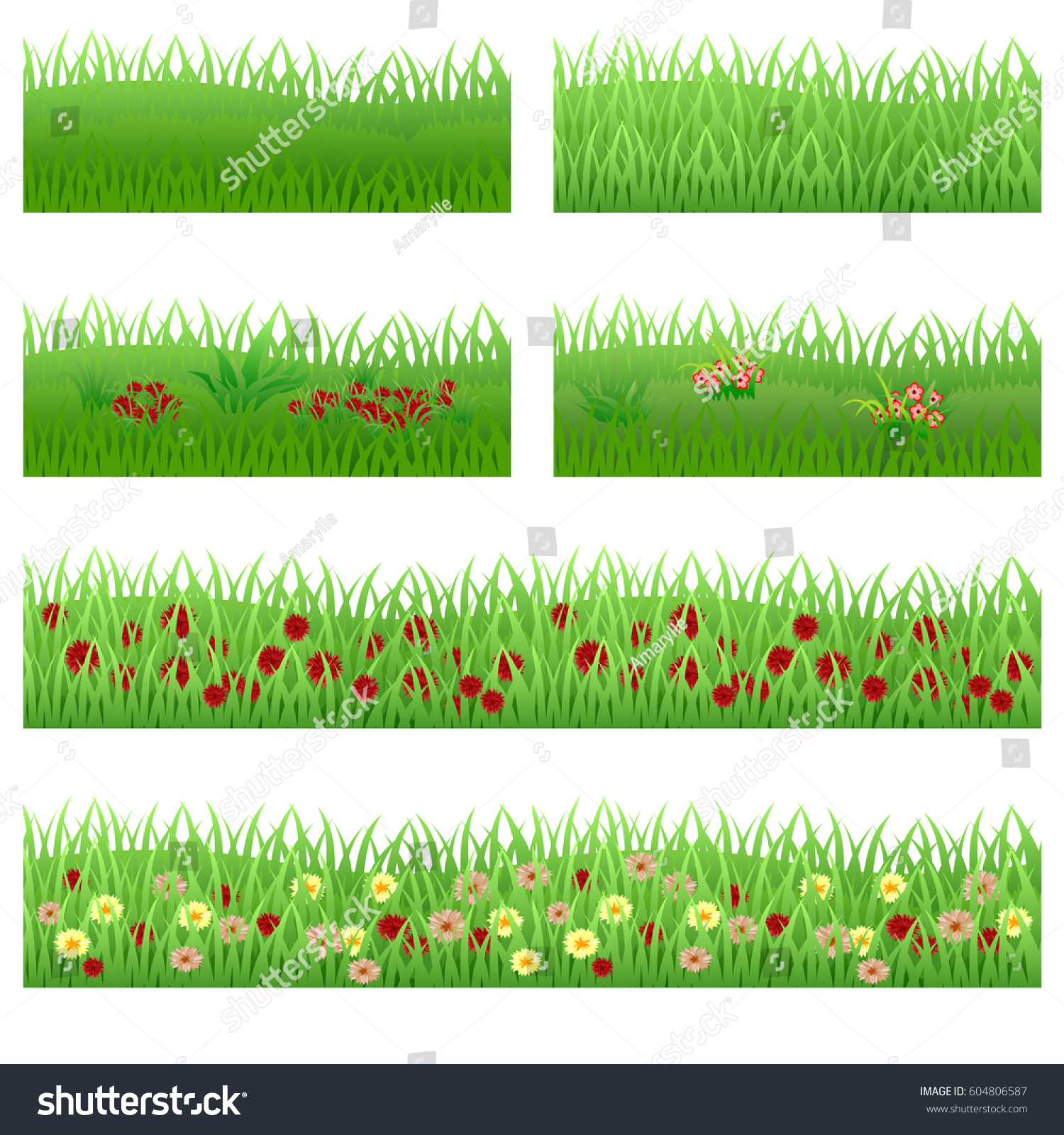 Set Garden Flowers Grass Flowers Green Stock Vector Royalty Free