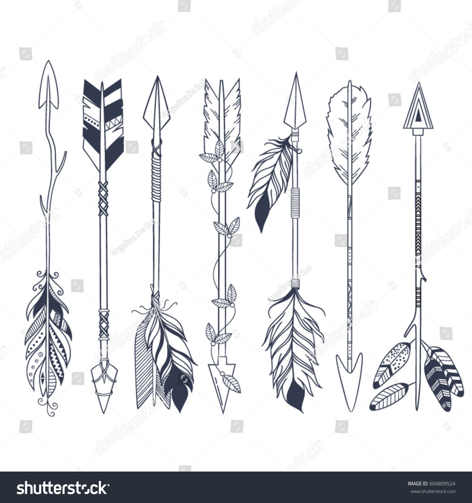 Arrow Set Native American Indian Style Stock Vector Royalty Free