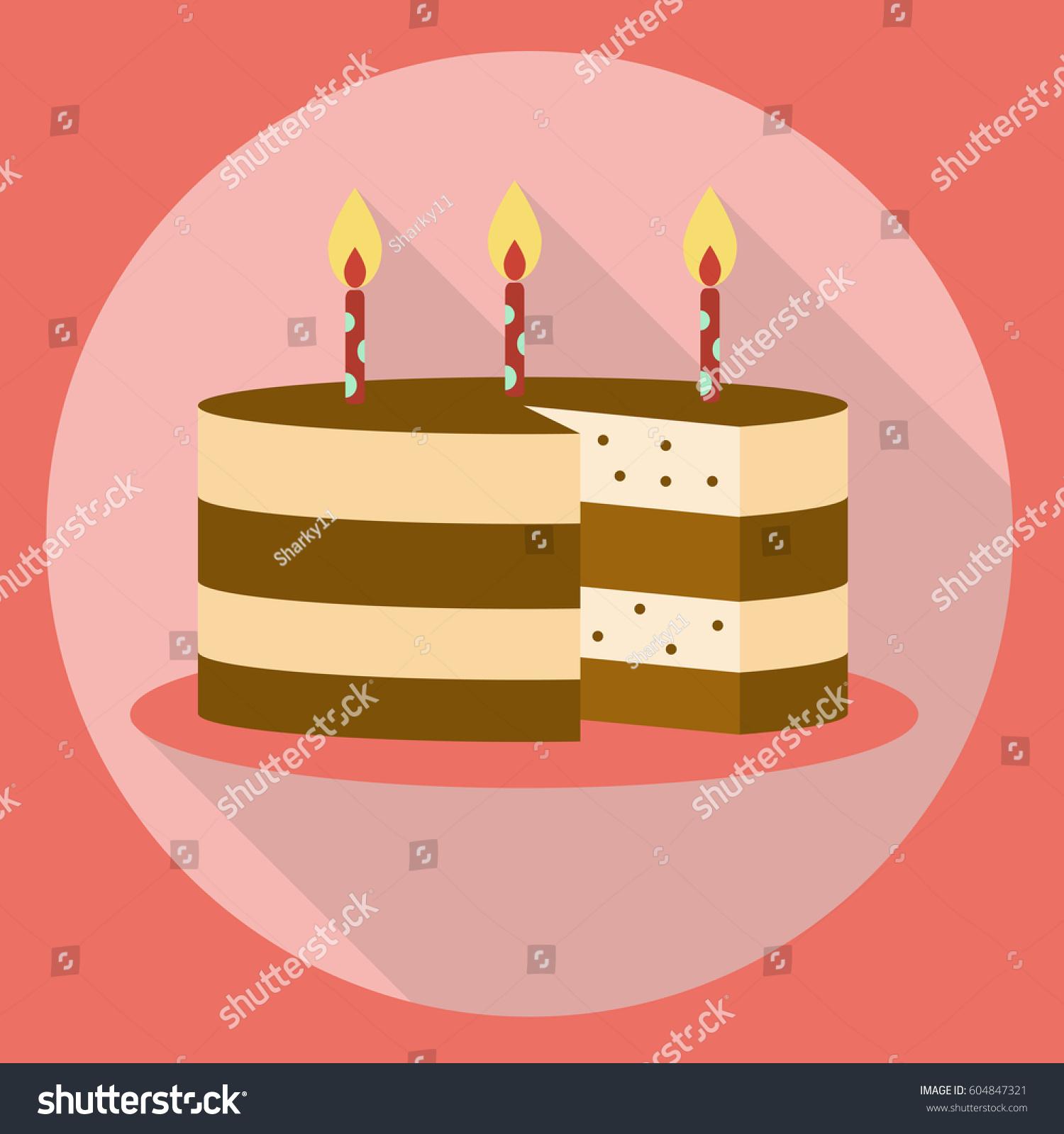 Birthday cake icon flat style long stock illustration 604847321 birthday cake icon flat style with long shadow cake symbol buycottarizona