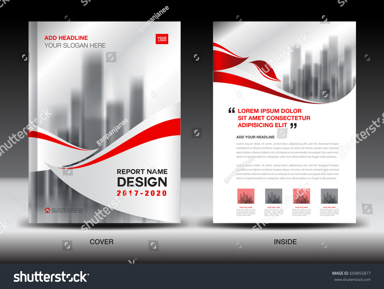 Annual Report Brochure Flyer Template Red Stock Vector 604855877 ...