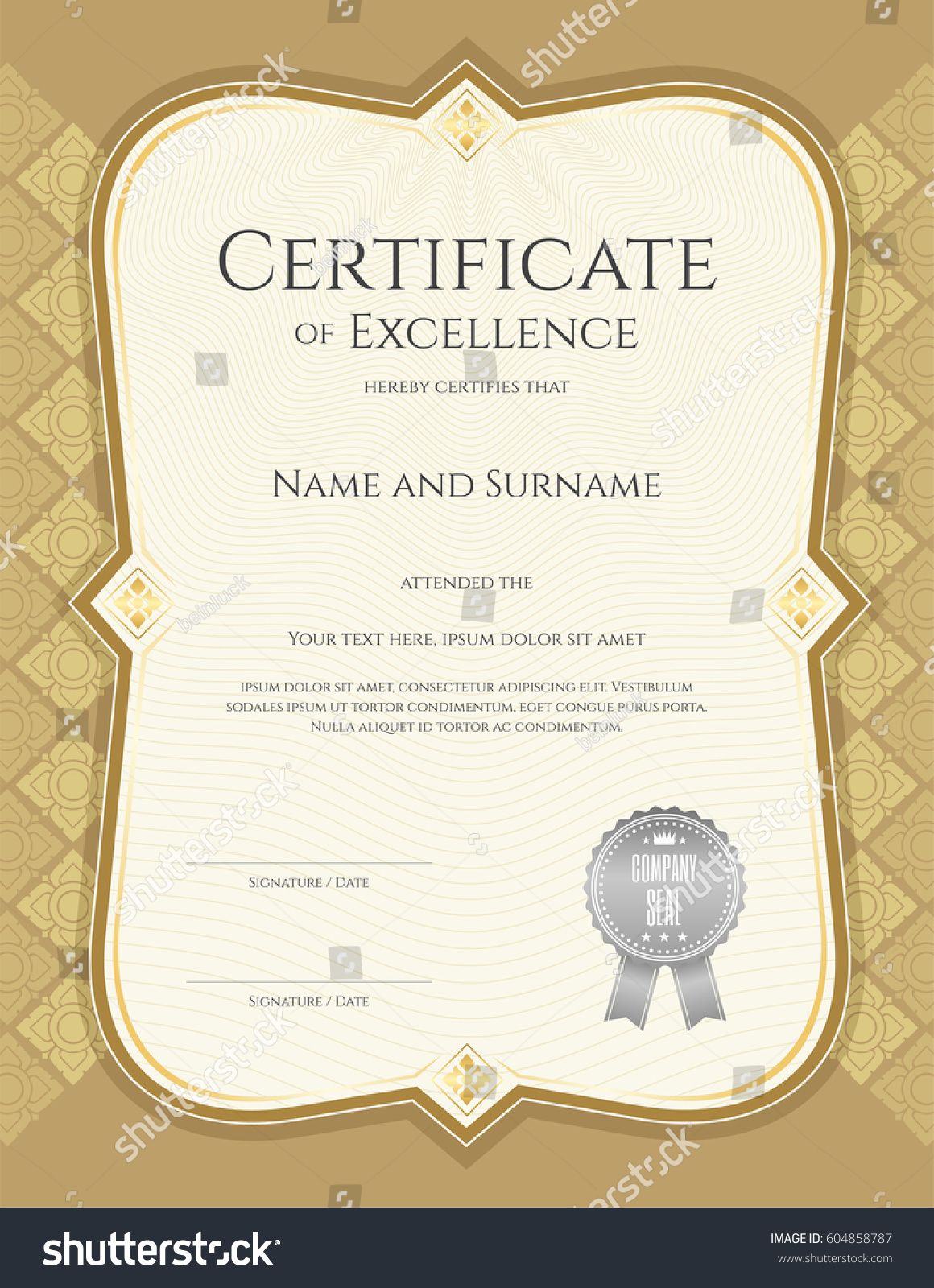 Portrait Certificate Achievement Template Vector Applied Stock