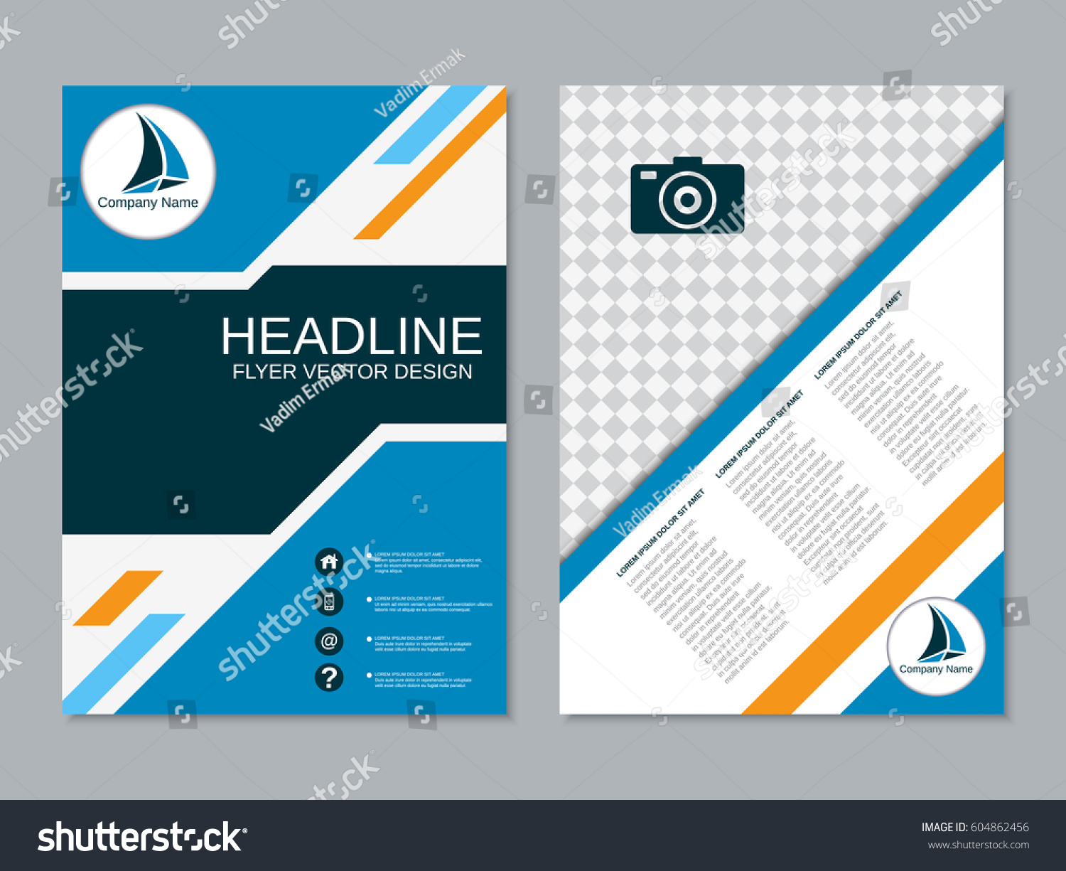 two sided brochure template - modern business twosided flyer vector design stock vector