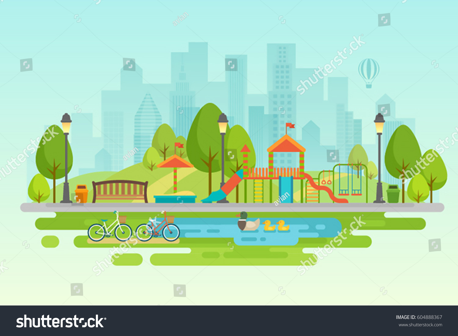 Kids playground with playing equipment, City park with outdoor decor. #604888367
