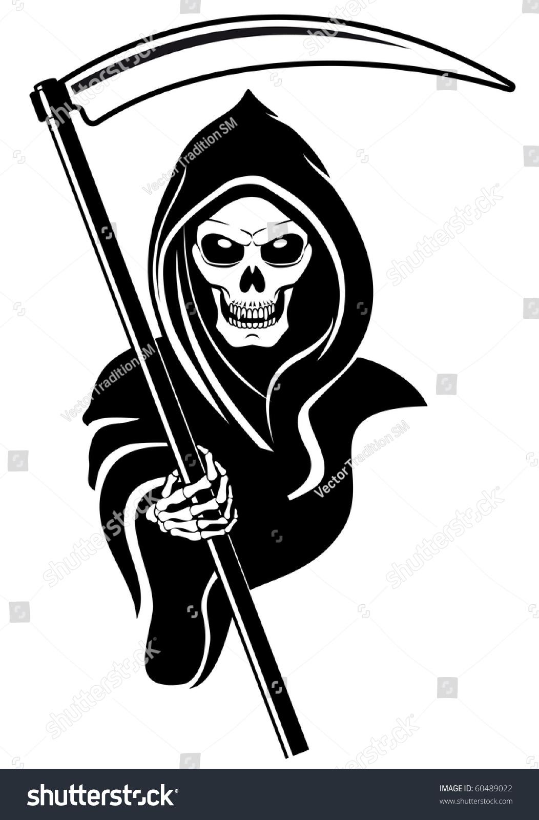 Death Sign Isolated On White Tattoo Stock Illustration