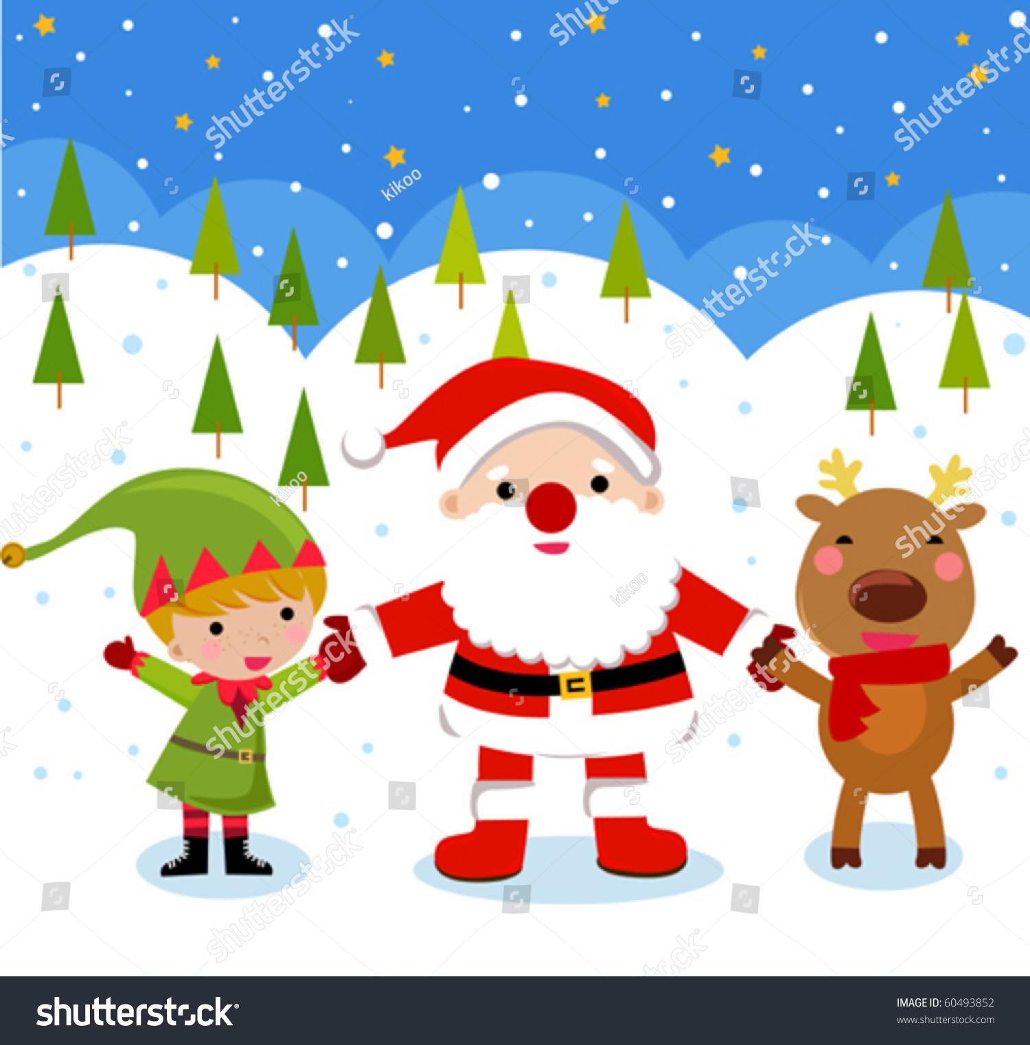 Santa Claus Reindeer Elf Stock Vector 60493852 - Shutterstock