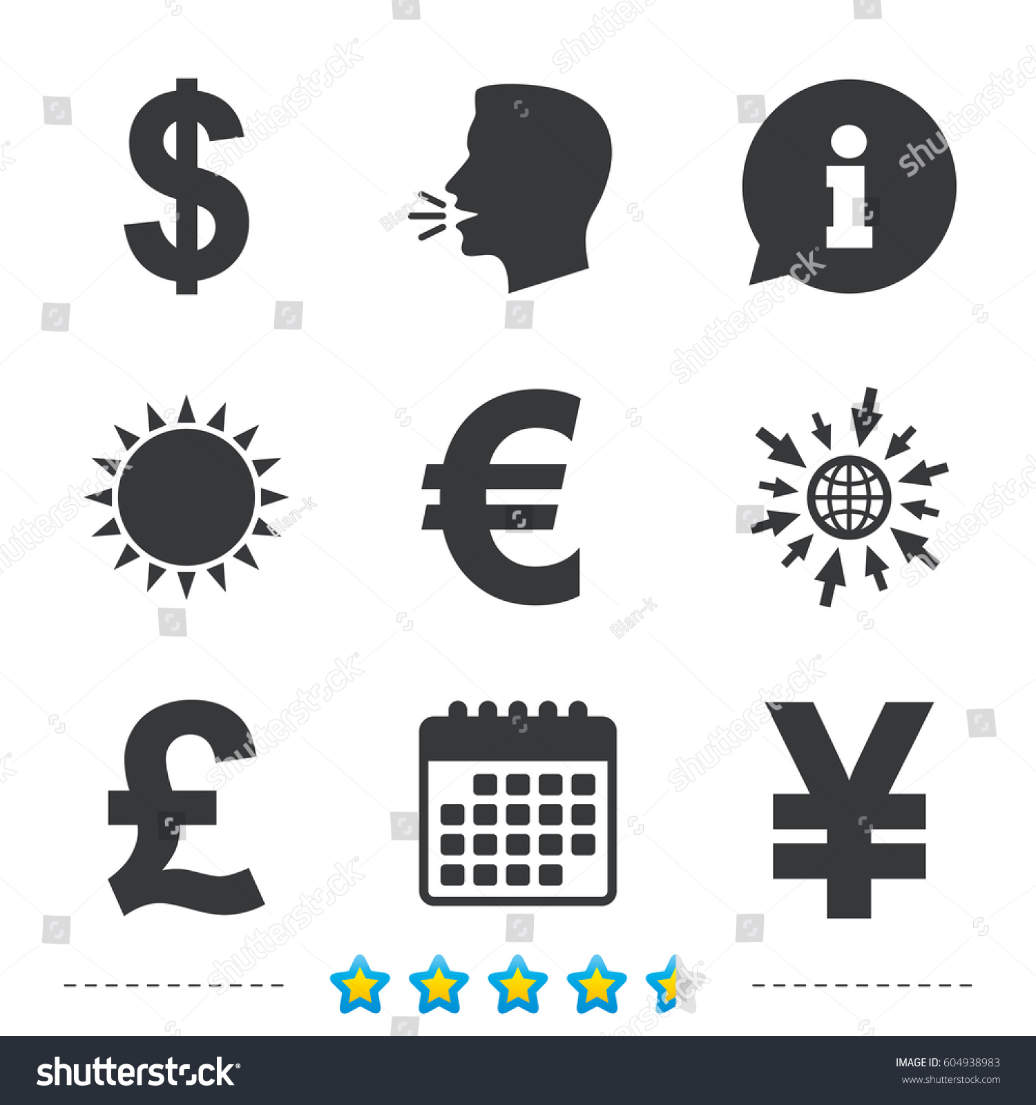 Dollar euro pound yen currency icons stock vector 604938983 dollar euro pound and yen currency icons usd eur gbp and biocorpaavc Gallery