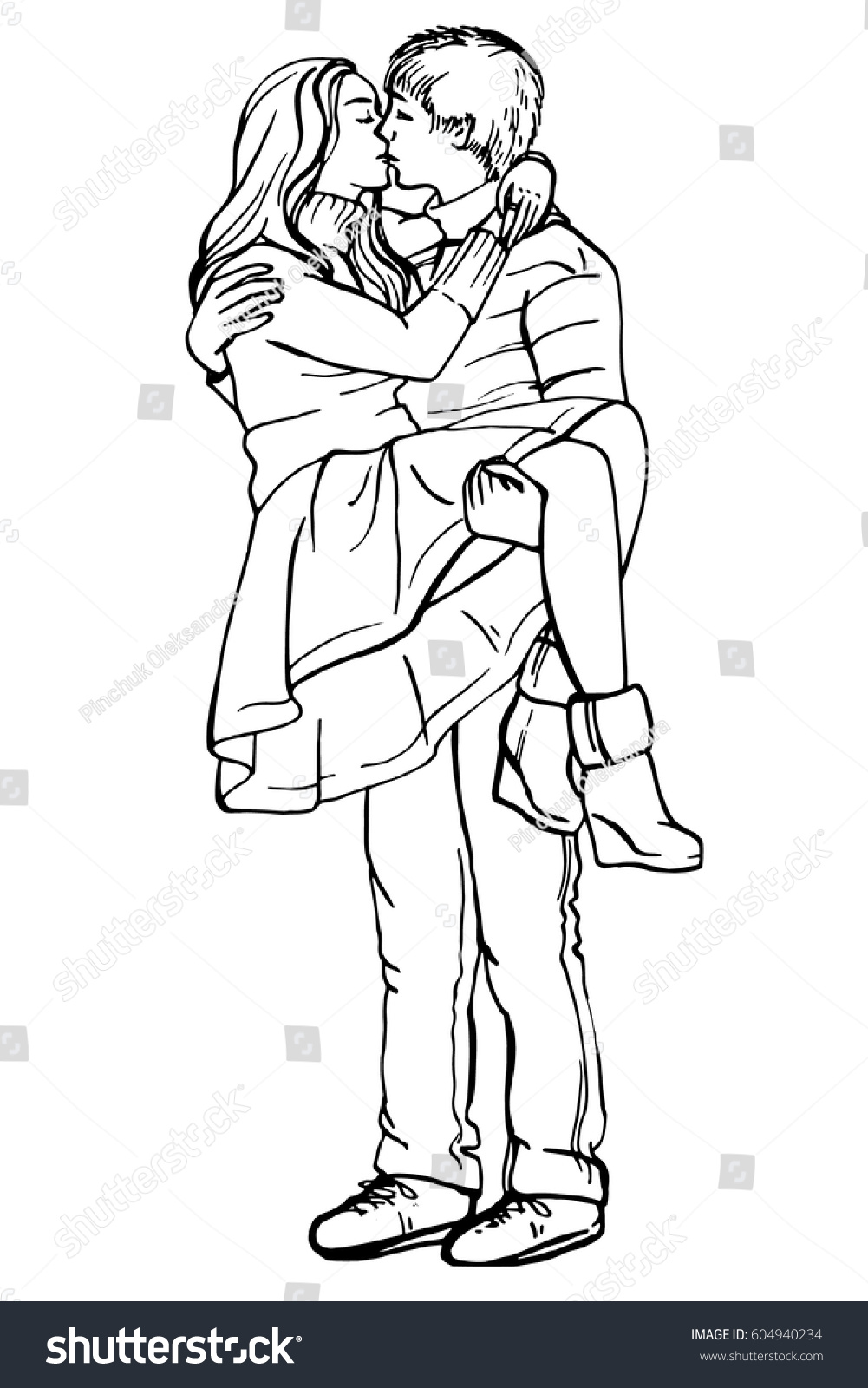 Young couple in love.Sensual Ink sketch portrait of young stylish couple. Embraces of a loving couple, couple hugging and flirting, kissing. Hand drawn illustration.