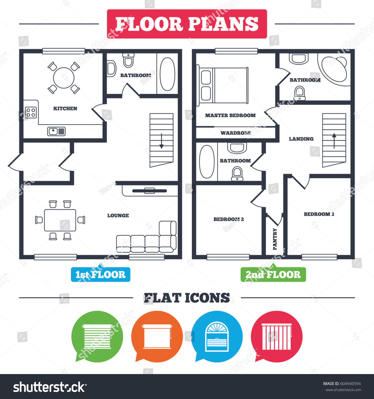 Architecture Plan Furniture House Floor Plan Stock Vector ...