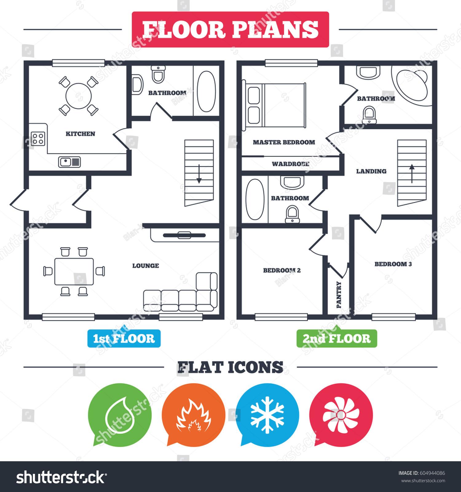 Architecture plan furniture house floor plan stock vector for Hvac plan
