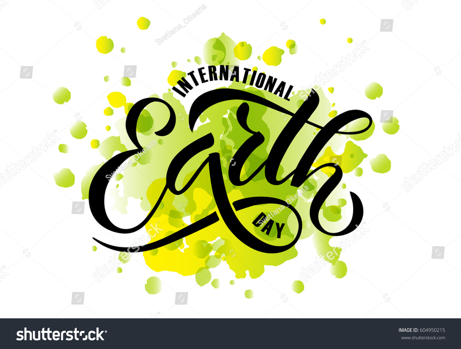 hand sketched text happy earth day stock vector 604950215