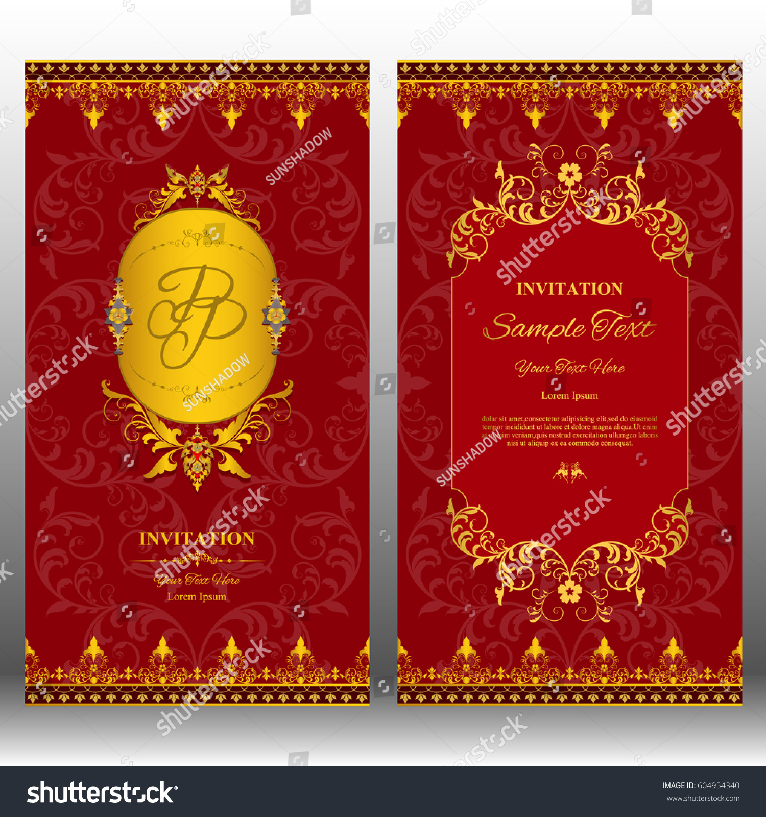 Wedding Invitation Card With Contemporary Thai Design With Stock ...