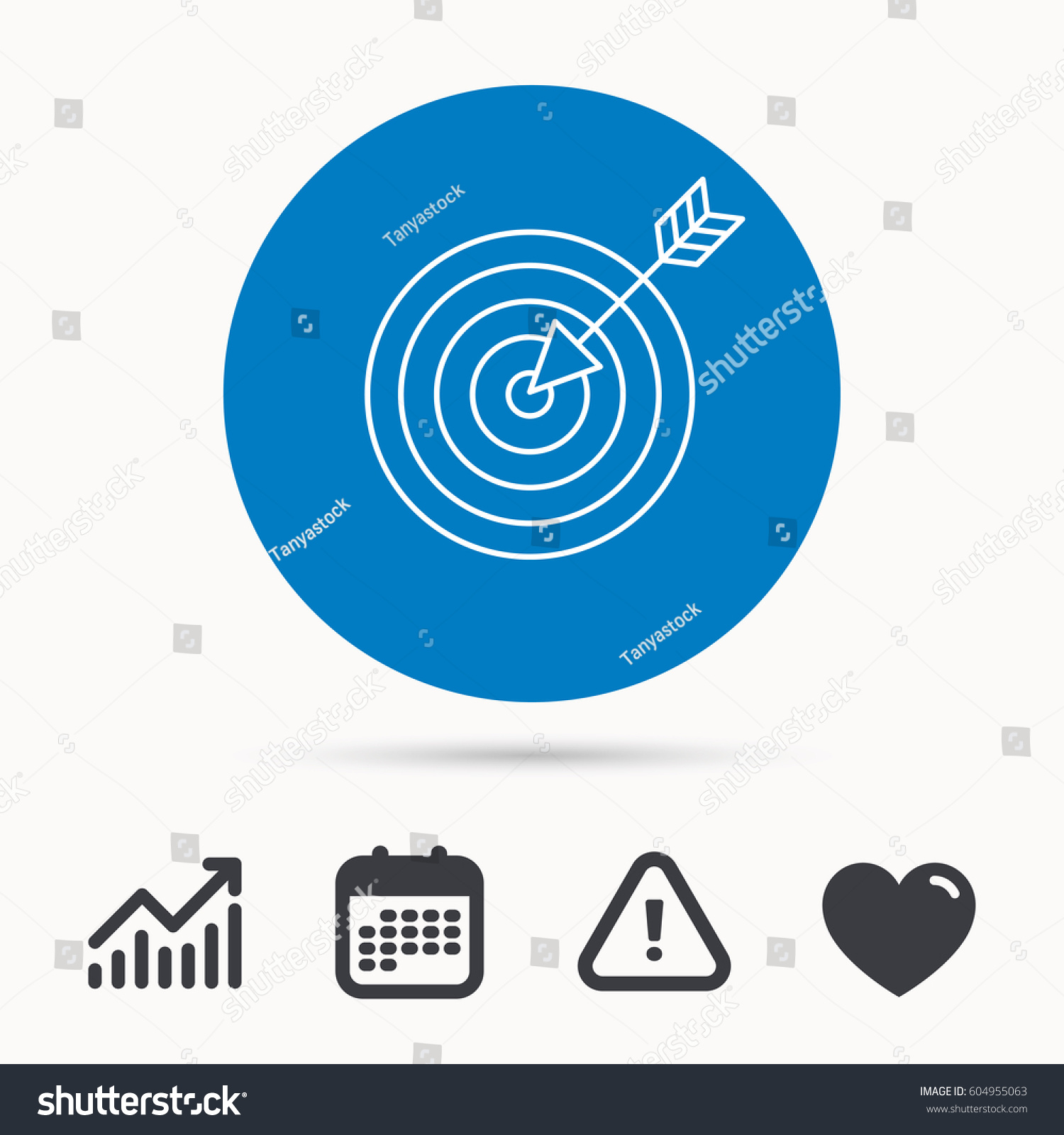 Target arrow icon dart aim sign stock vector 604955063 shutterstock target with arrow icon dart aim sign calendar attention sign and growth chart geenschuldenfo Images
