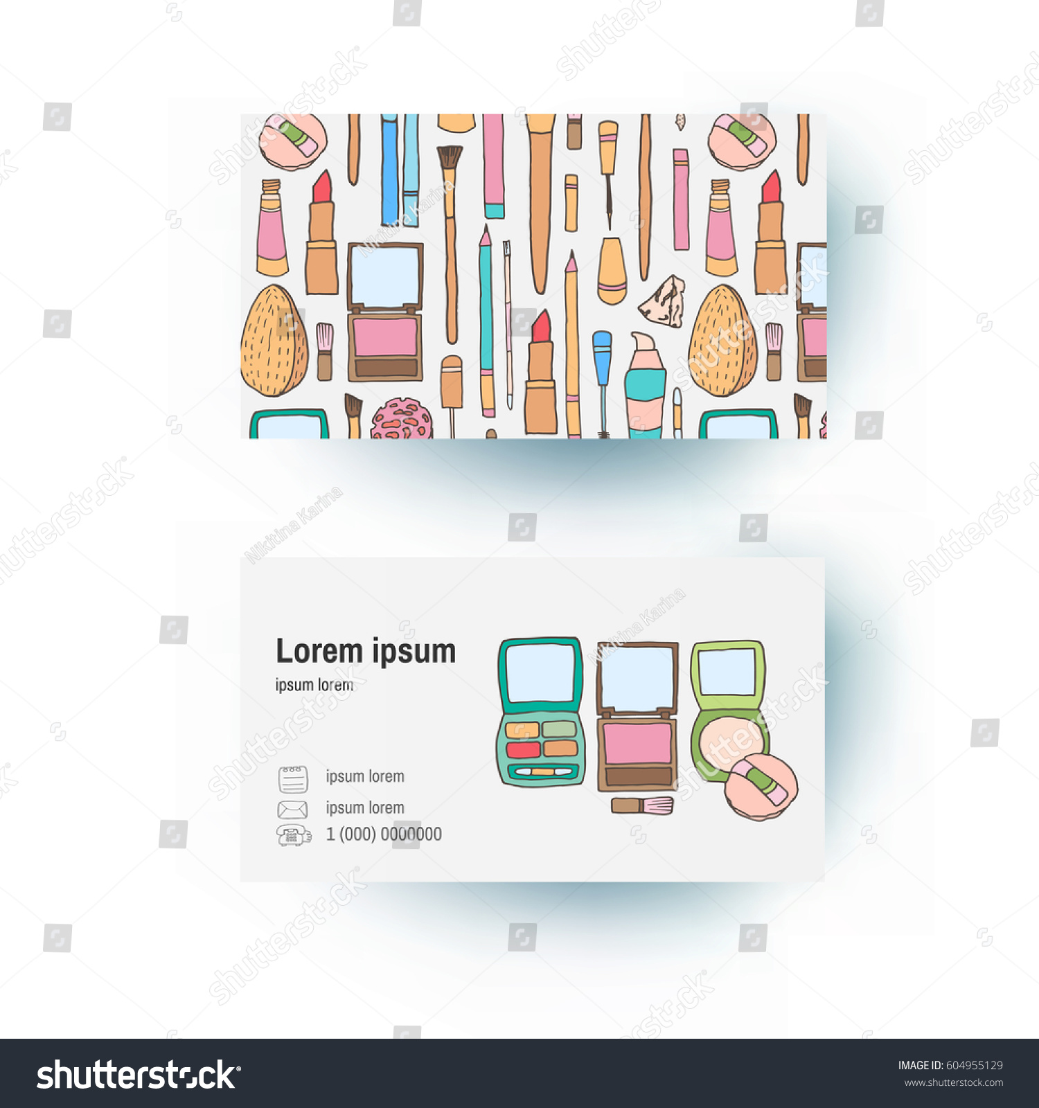 Business card doodle sketch style cosmetics stock vector royalty business card in doodle sketch style of cosmetics and bags for it sketching brushes colourmoves
